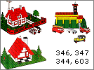 Lego set 380: Legoland village set with two houses, firestation and five vehicles