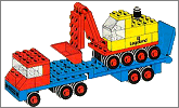 Lego set 681: Low loader with 4 wheel excavator