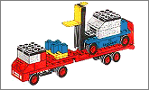 Lego set 684: Low loader with fork lift truck